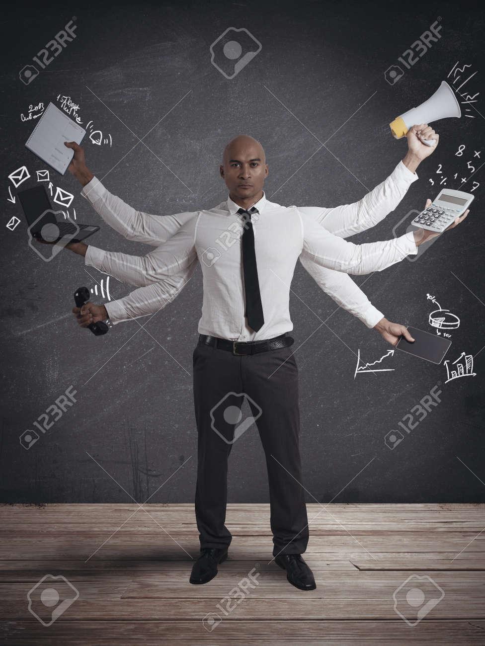 Concept of multitasking businessman Stock Photo - 18381195