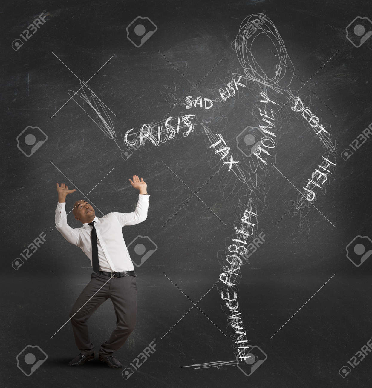 Concept of businessman oppressed by the monster of the crisis Stock Photo - 18575492