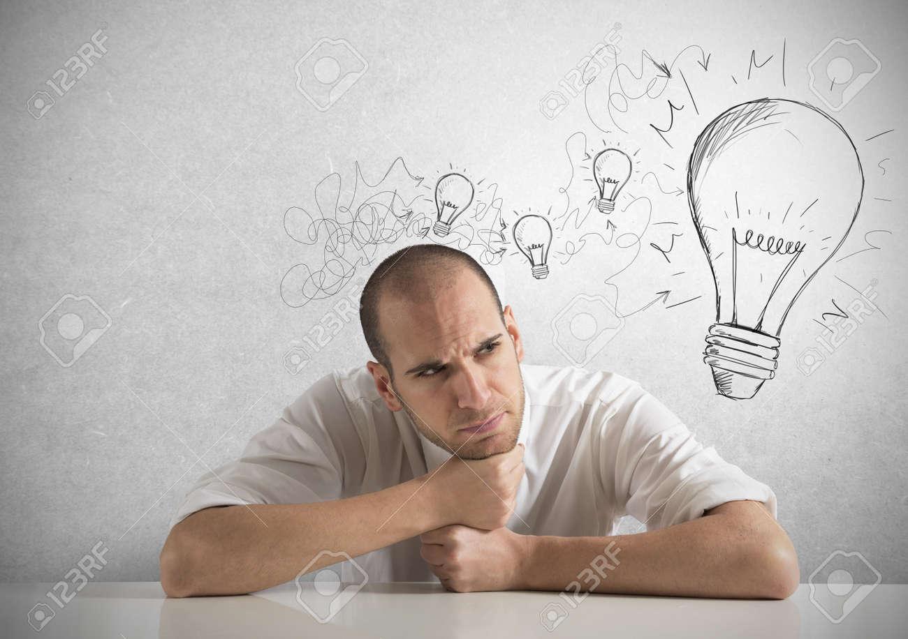 Concept of businessman with a creative big idea Stock Photo - 18575446