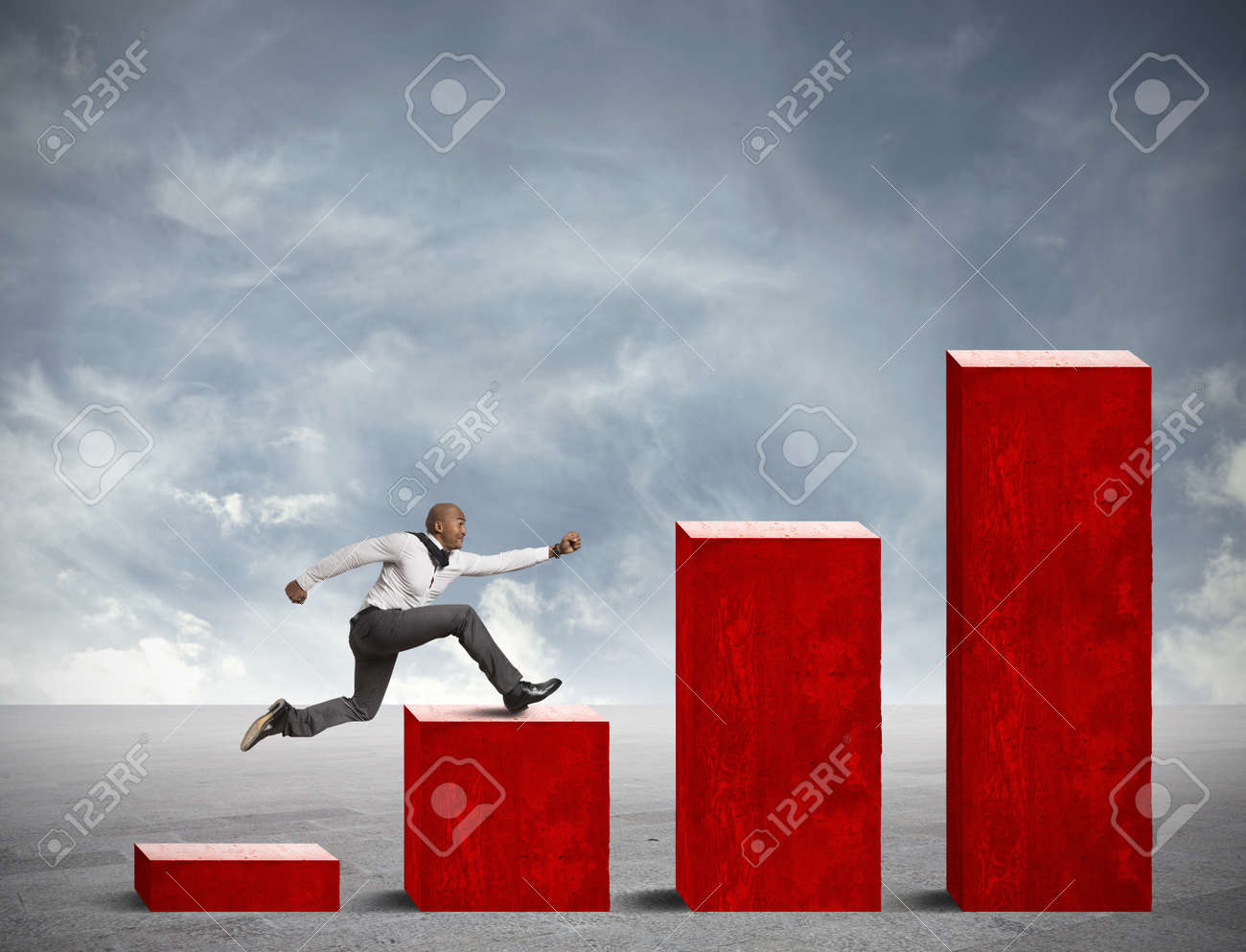 Concept of competition in business with running businessman - 18575474