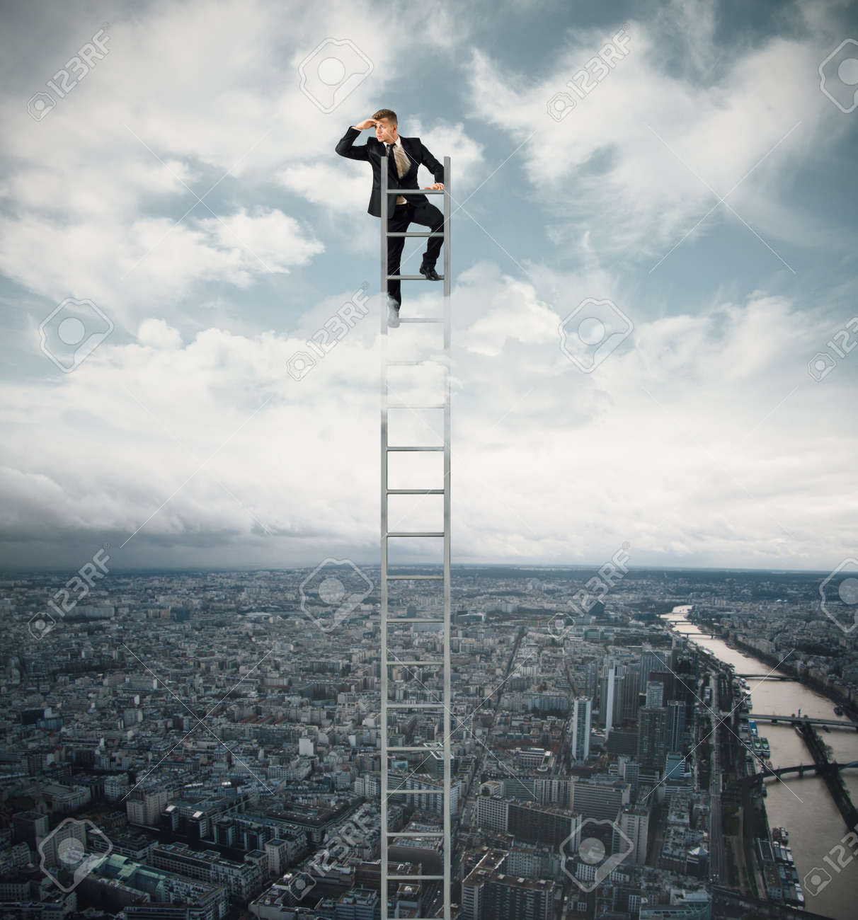 Businessman looking fo job on a stairs Stock Photo - 18609106