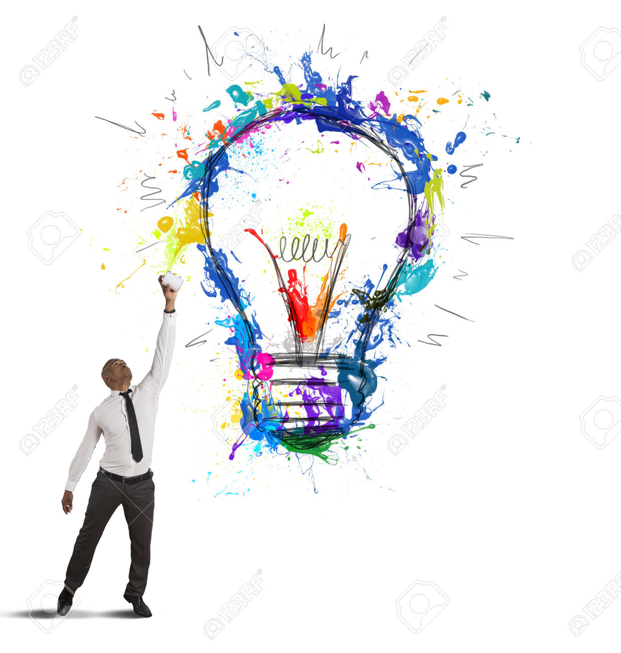 Concept of creative business idea with drawing businessman Stock Photo - 18917897