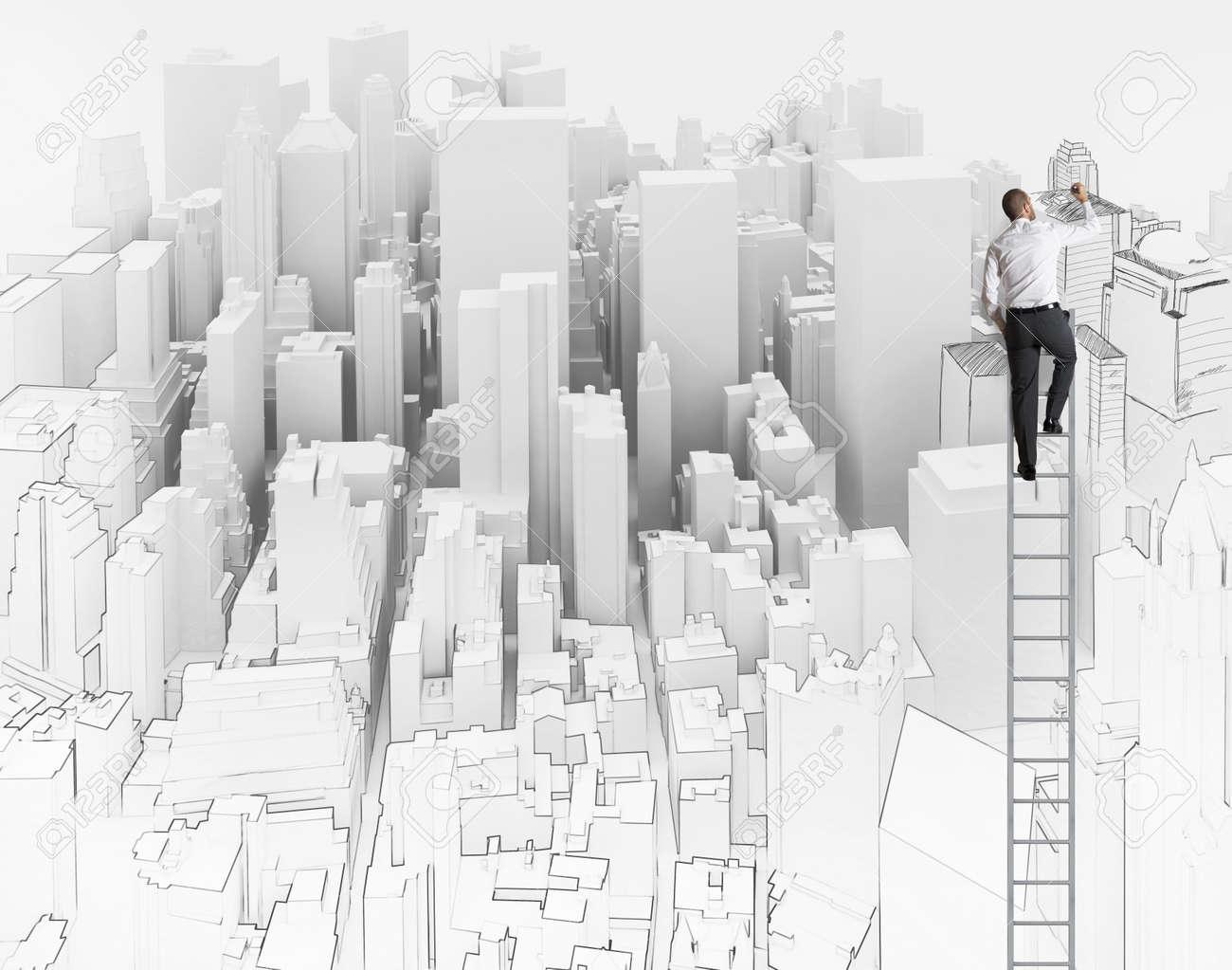 Stadt Und Buro Skizze Eines Architekten Lizenzfreie Fotos Bilder