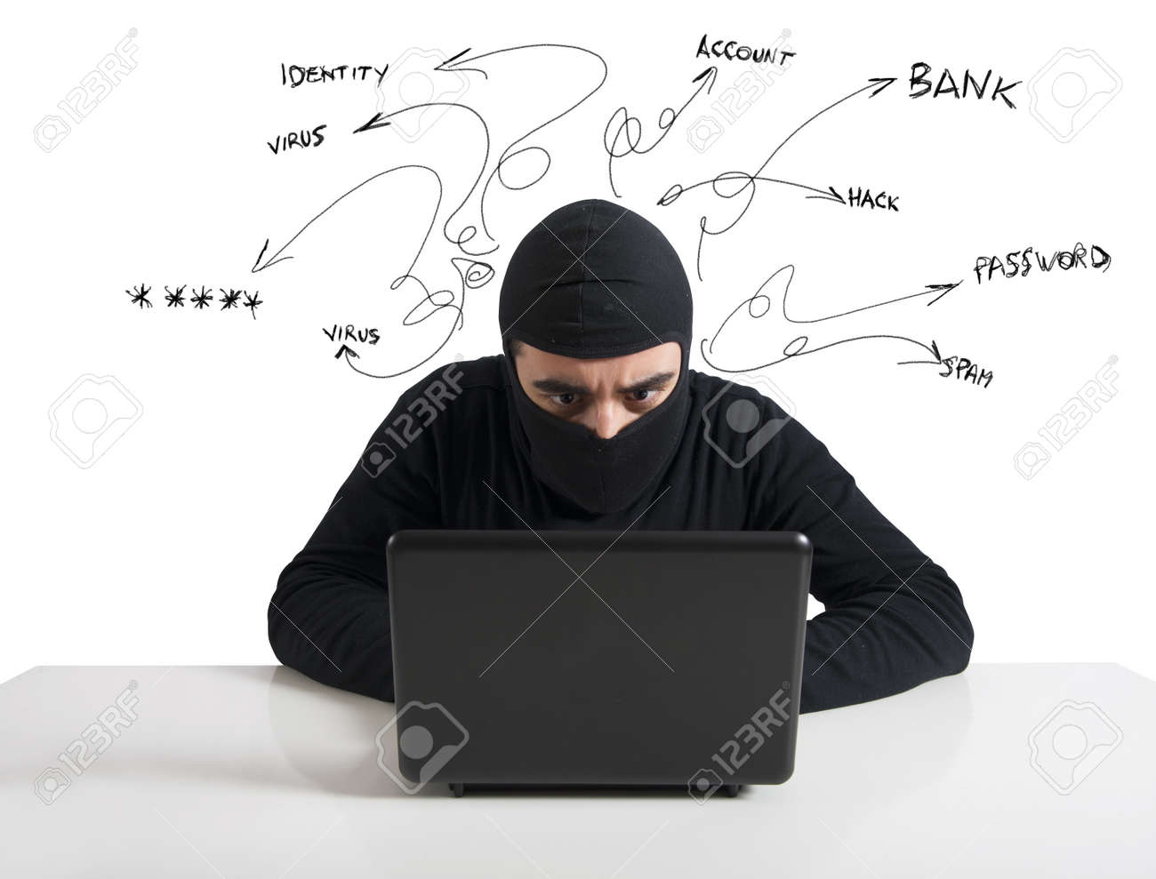 Concept of hacker at work with laptop Stock Photo - 18917887