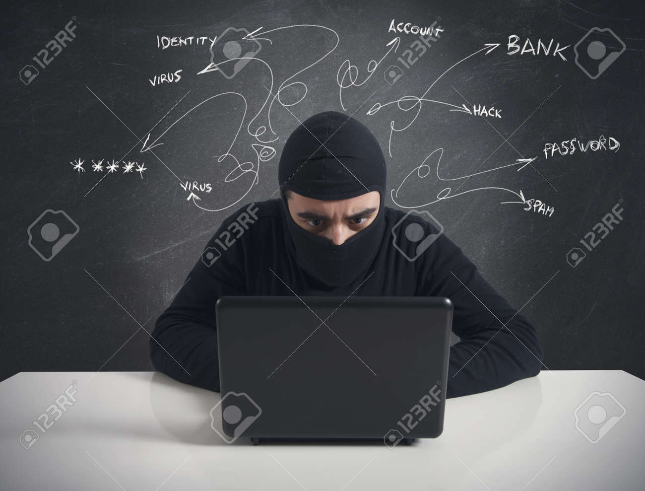 Concept of hacker at work with laptop Stock Photo - 18917928