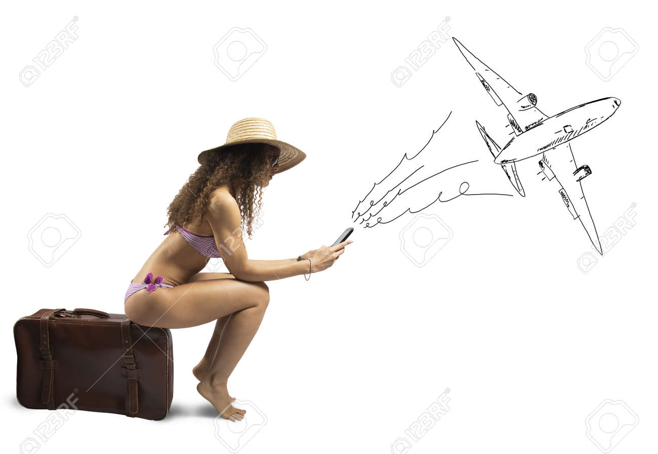 Concept of girl ready to travel with airplane Stock Photo - 19318246