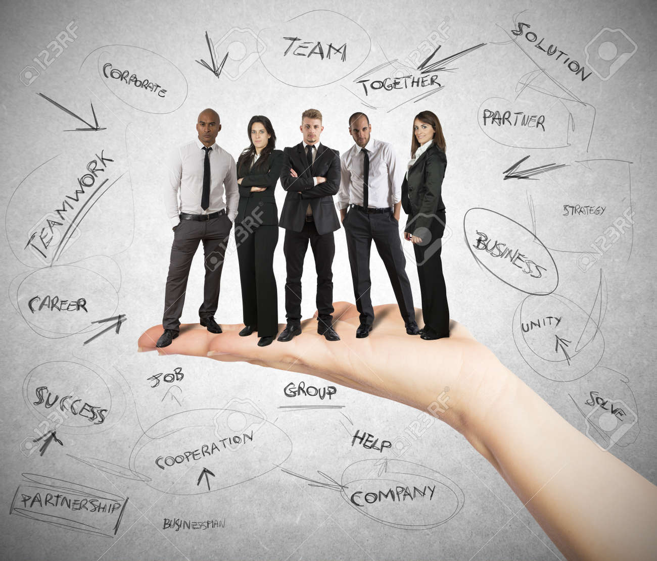 Hand holds a successful business team Stock Photo - 20411734