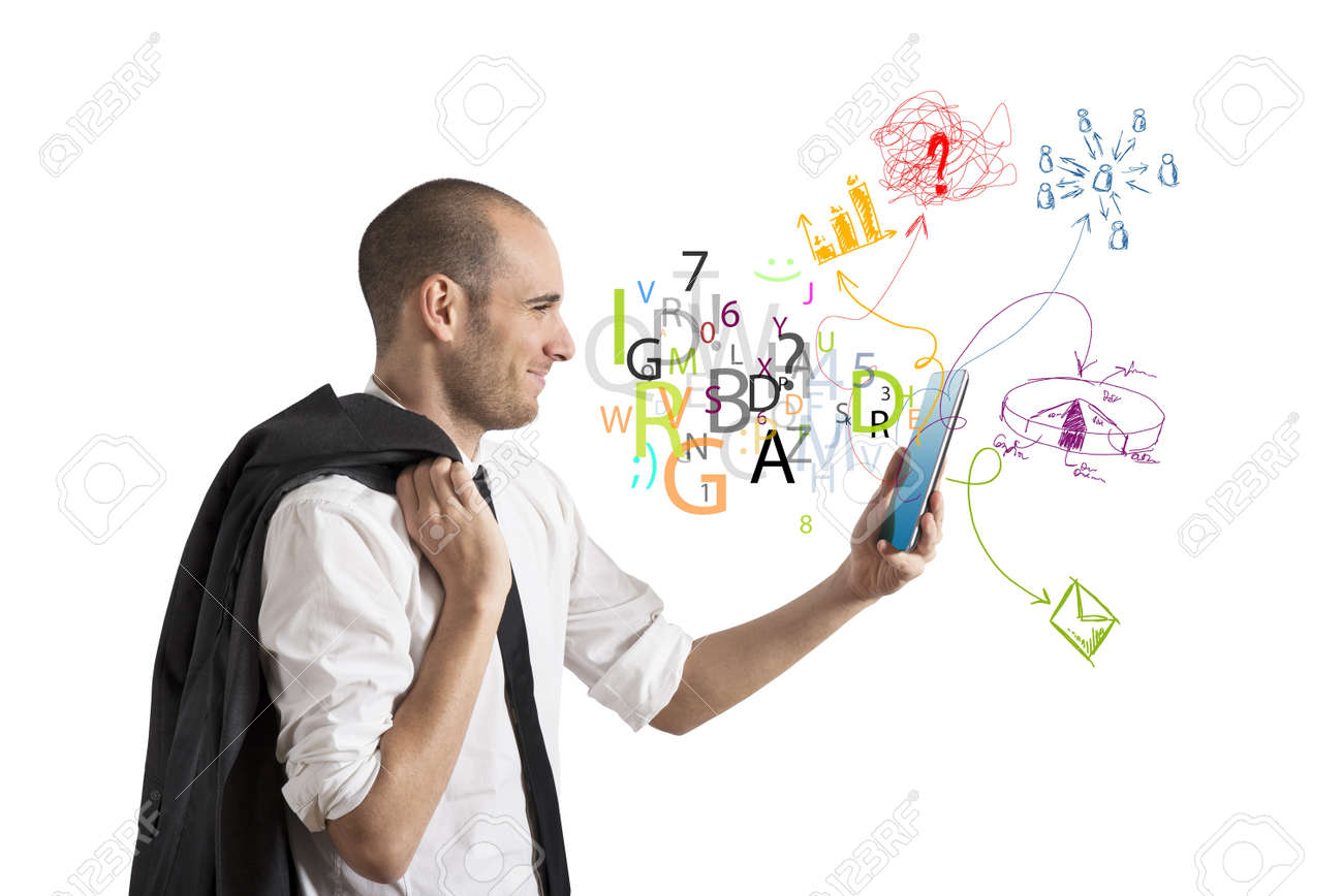 Businessman share the work with a tablet Stock Photo - 20707356