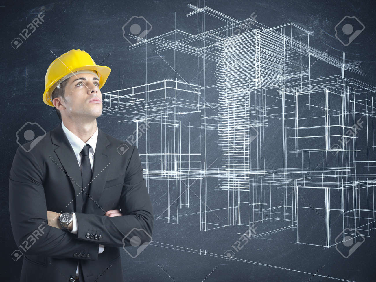 Architect thinking a new project of modern buildings Stock Photo - 21139608