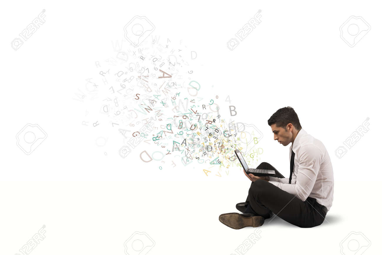 Freedom businessman working with laptop and internet Stock Photo - 21139614