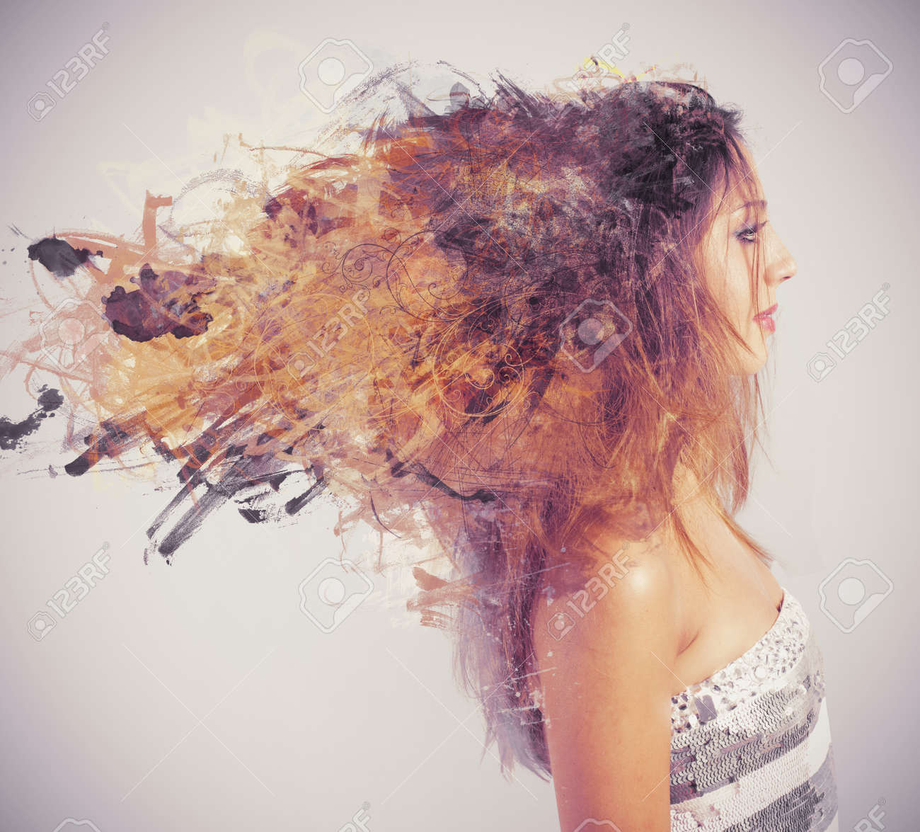 Creative hairstyle concept with motion effect Stock Photo - 21139661