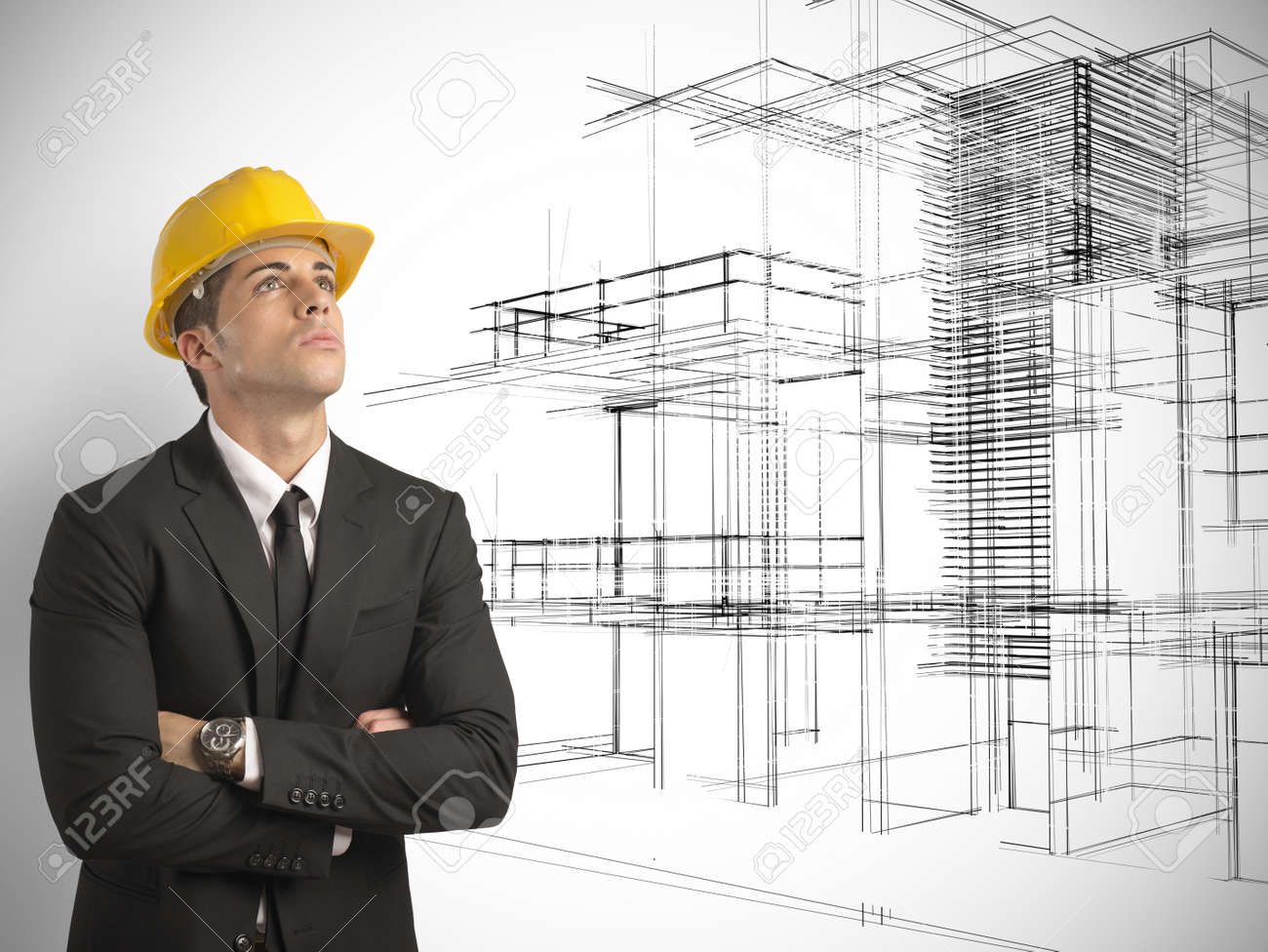 architect thinking a new project of modern buildings stock photo