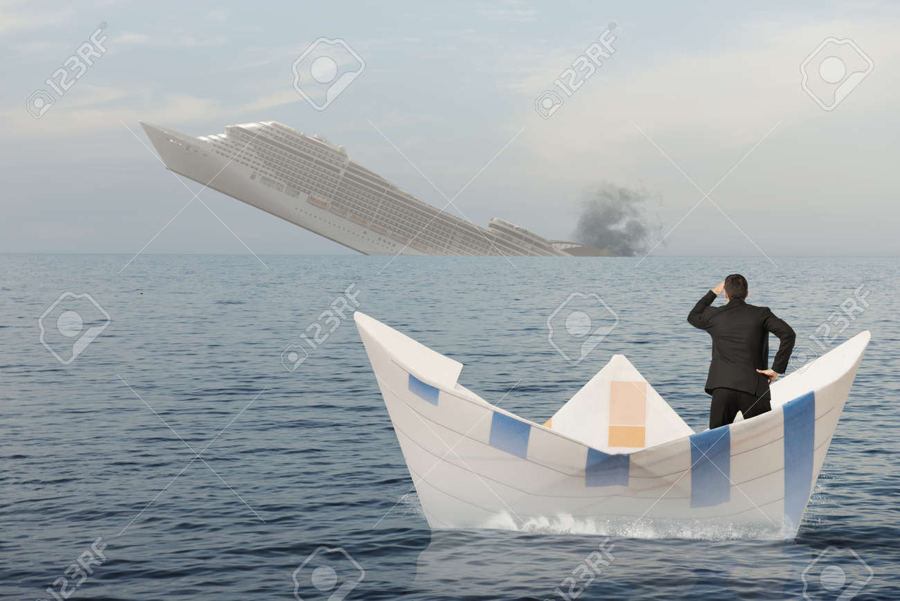 Ship is sinking into the sea. Concept of business crisis Stock Photo - 21694747