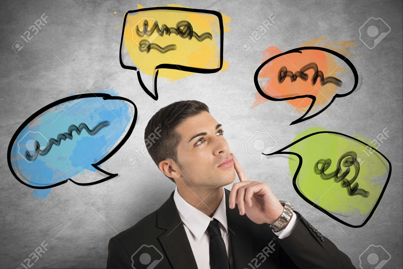 Chat and social network concept with thinking businessman Stock Photo - 22087247