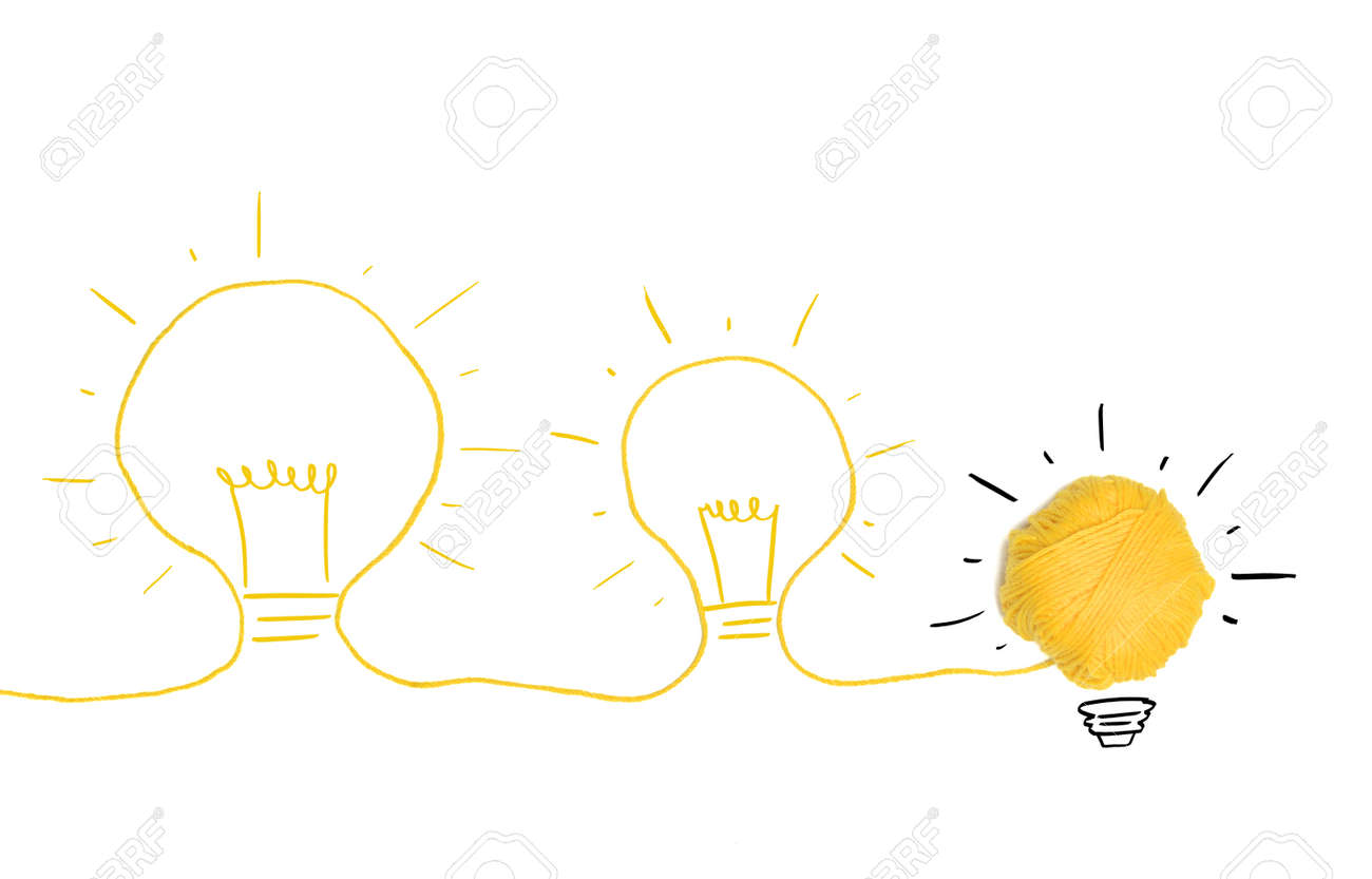 Concept of idea and innovation with wool ball Stock Photo - 22397195