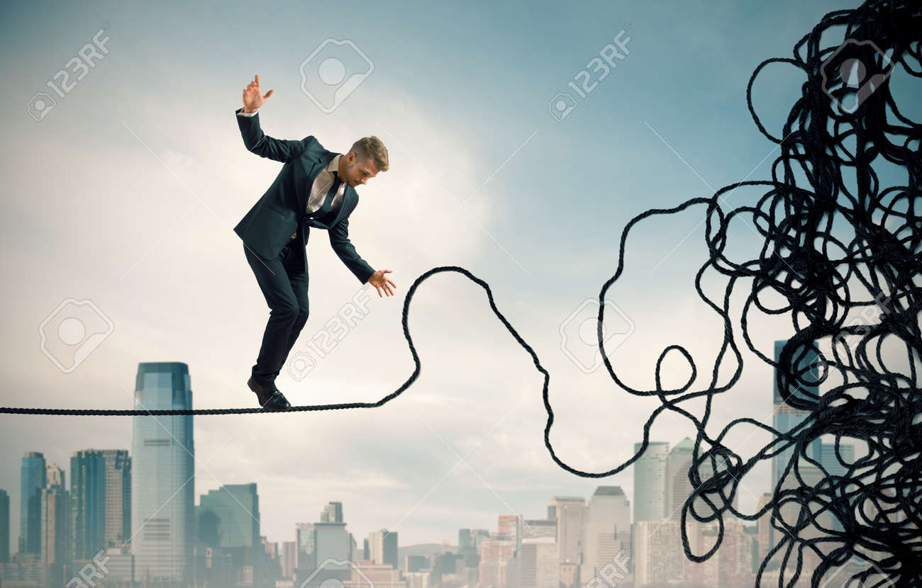 Concept of problem and difficulty of a businessman Stock Photo - 22441919