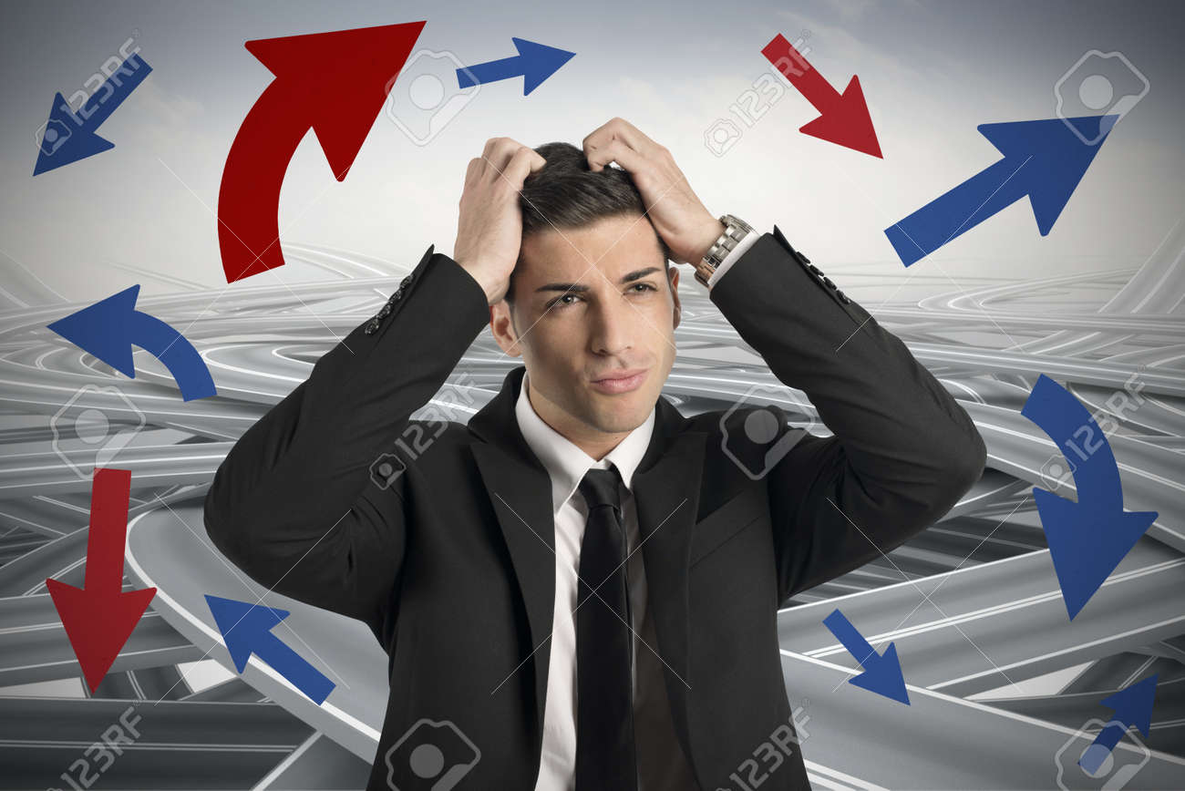 Concept of Confused way of a businessman Stock Photo - 23488041