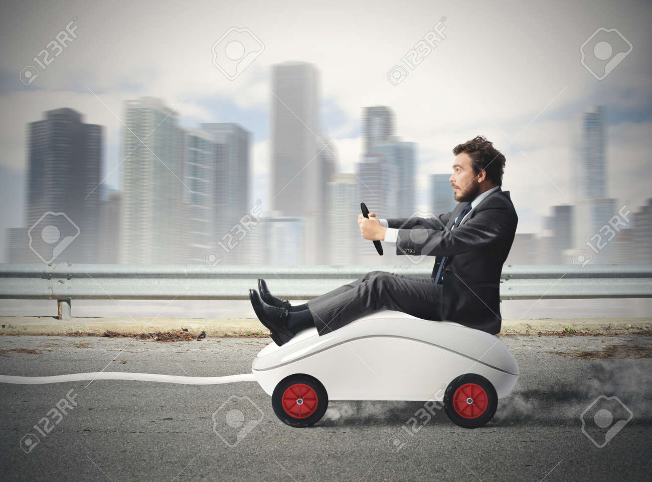 Concept of fast internet with mouse like a car - 23529562