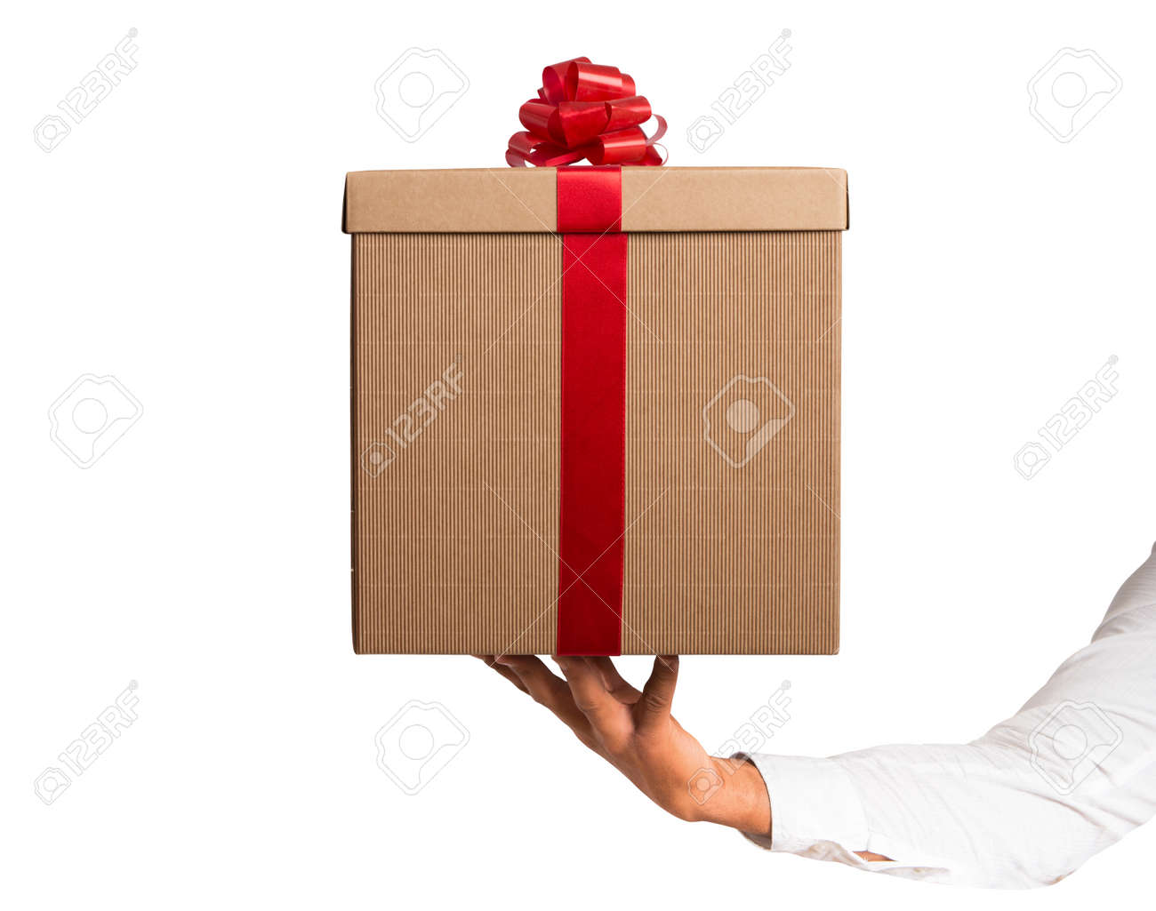 Gift with red ribbon isolated on white background Stock Photo - 24197165