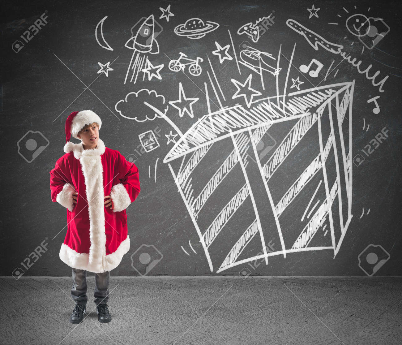 Child dressed as Santa Claus dreams of Christmas gifts Stock Photo - 24261003