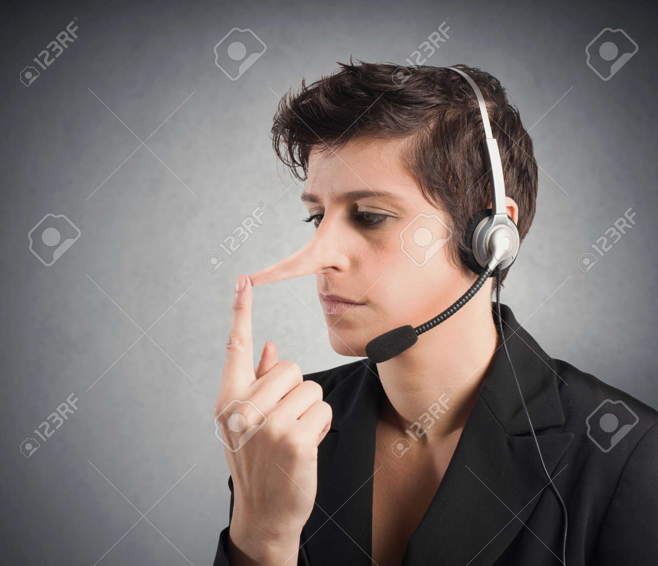 Concept of Customer Support liar with long nose Stock Photo - 24633368
