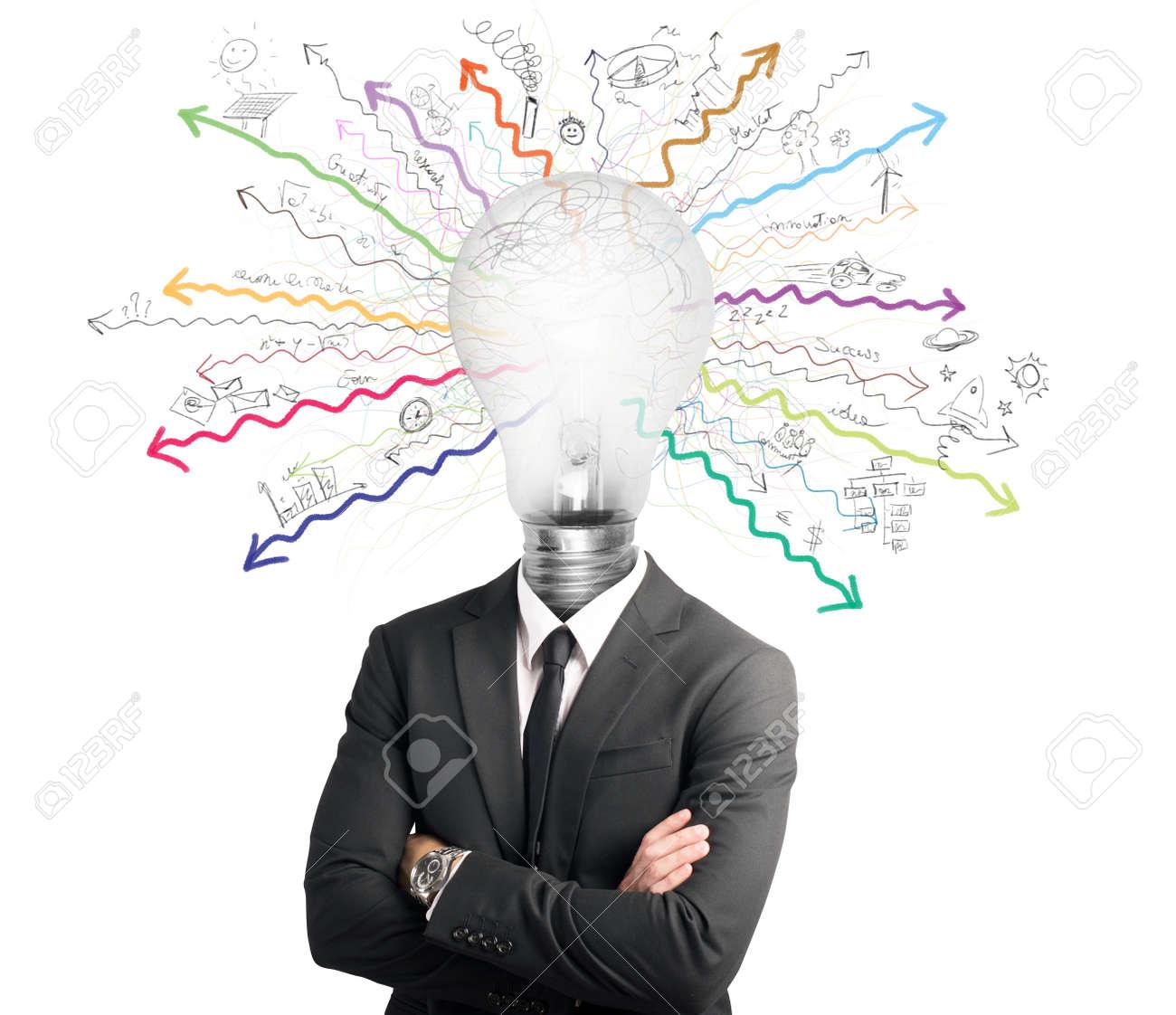 Concept of genius with illuminated light bulb in head Stock Photo - 24971672