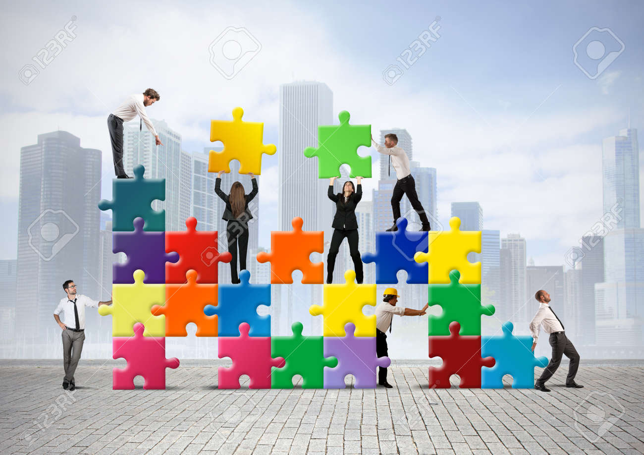 Team of businesspeople build a new company Stock Photo - 24971692