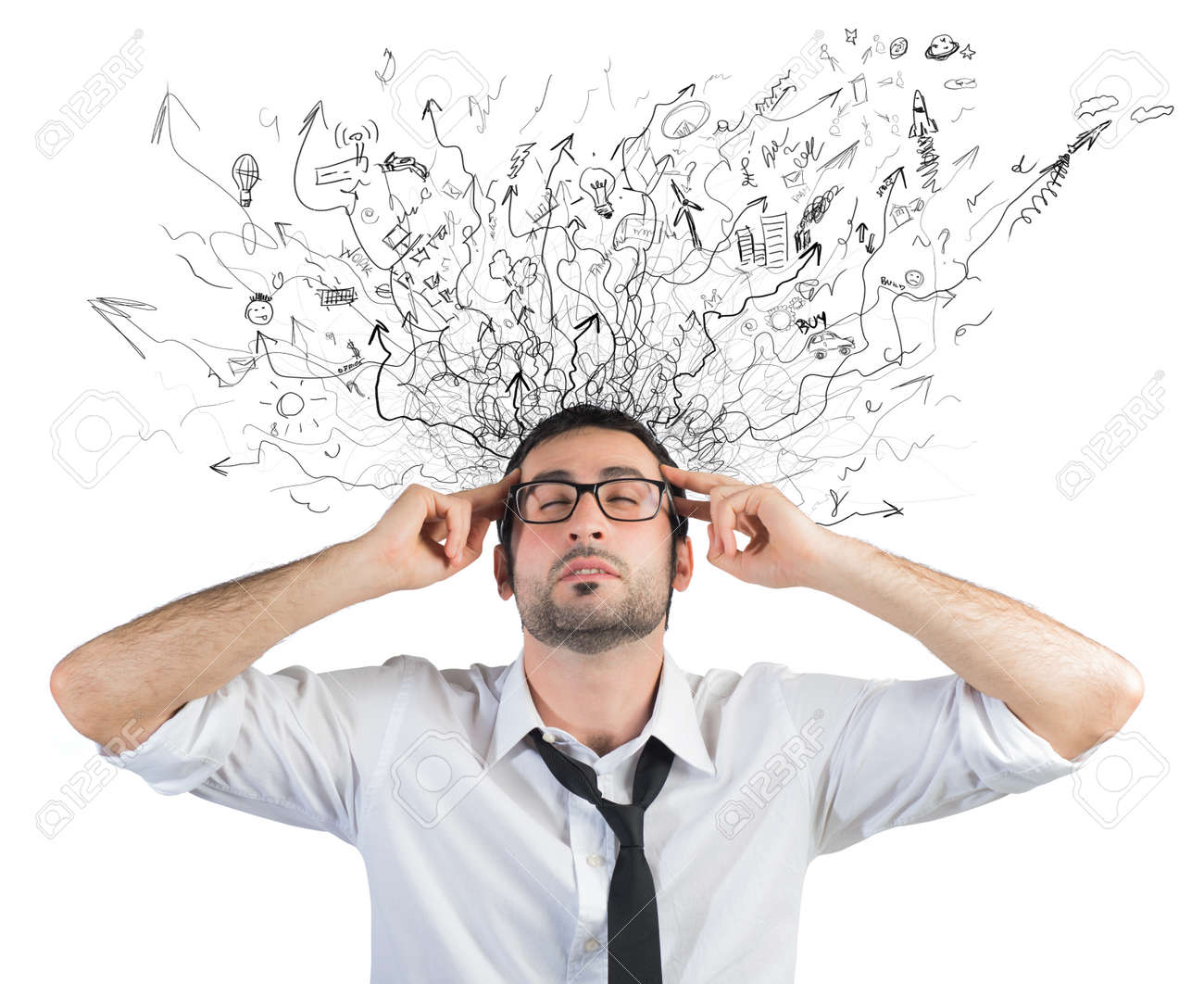 concept of stress and confusion of a businessman stock photo