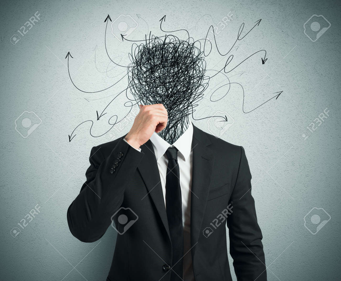 Confused businessman with arrows and lines in head - 27430478
