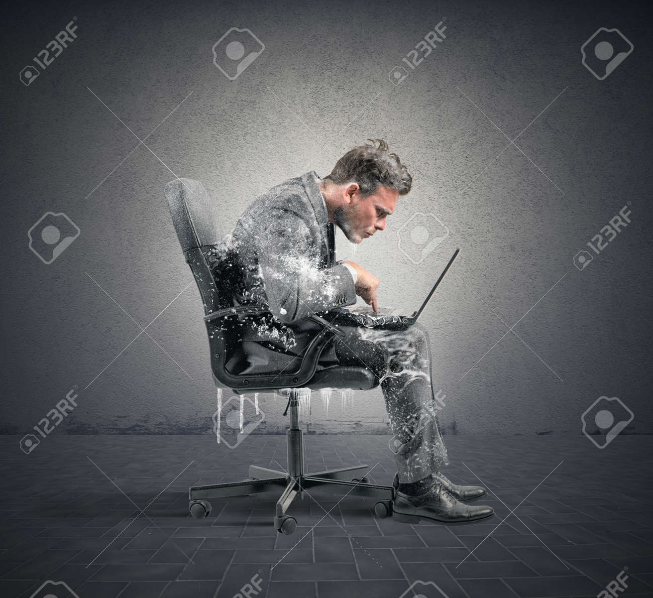 Concept of internet addiction with frozen businessman - 29767459