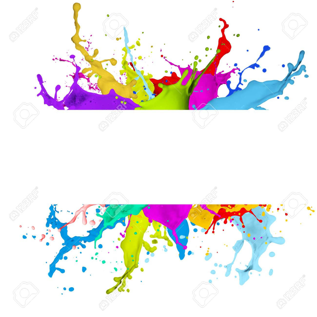 Attractif Bannière Frais Avec Effet Splash Coloré Sur Fond Blanc Banque D  KW73