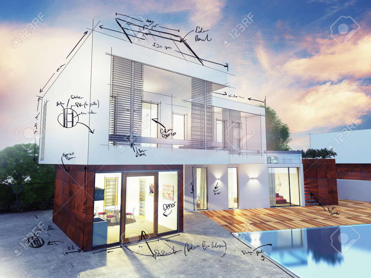 Exceptionnel Plan D Une Maison De Luxe Moderne QZ43