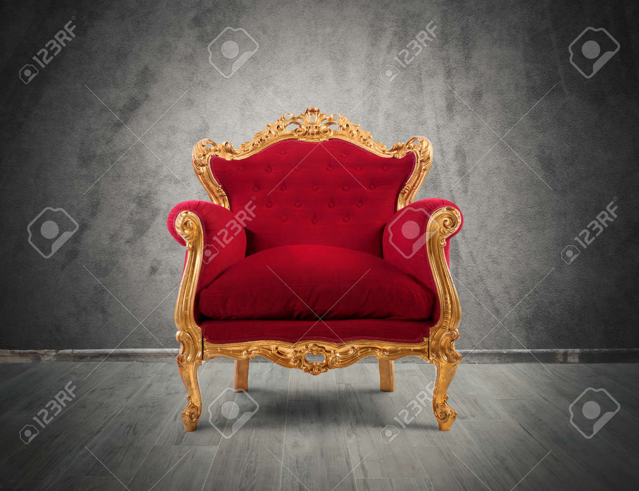Concept Of Luxury And Success With Red Velvet And Gold Armchair Stock Photo    43195603