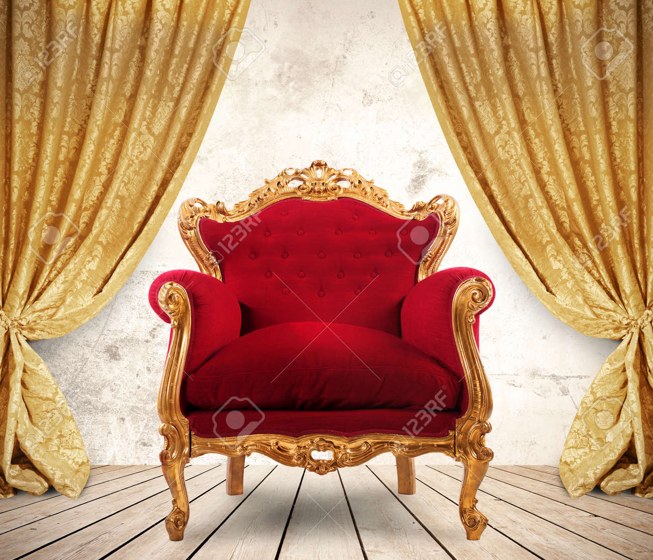 Room With Golden Curtains And Royal Armchair Stock Photo