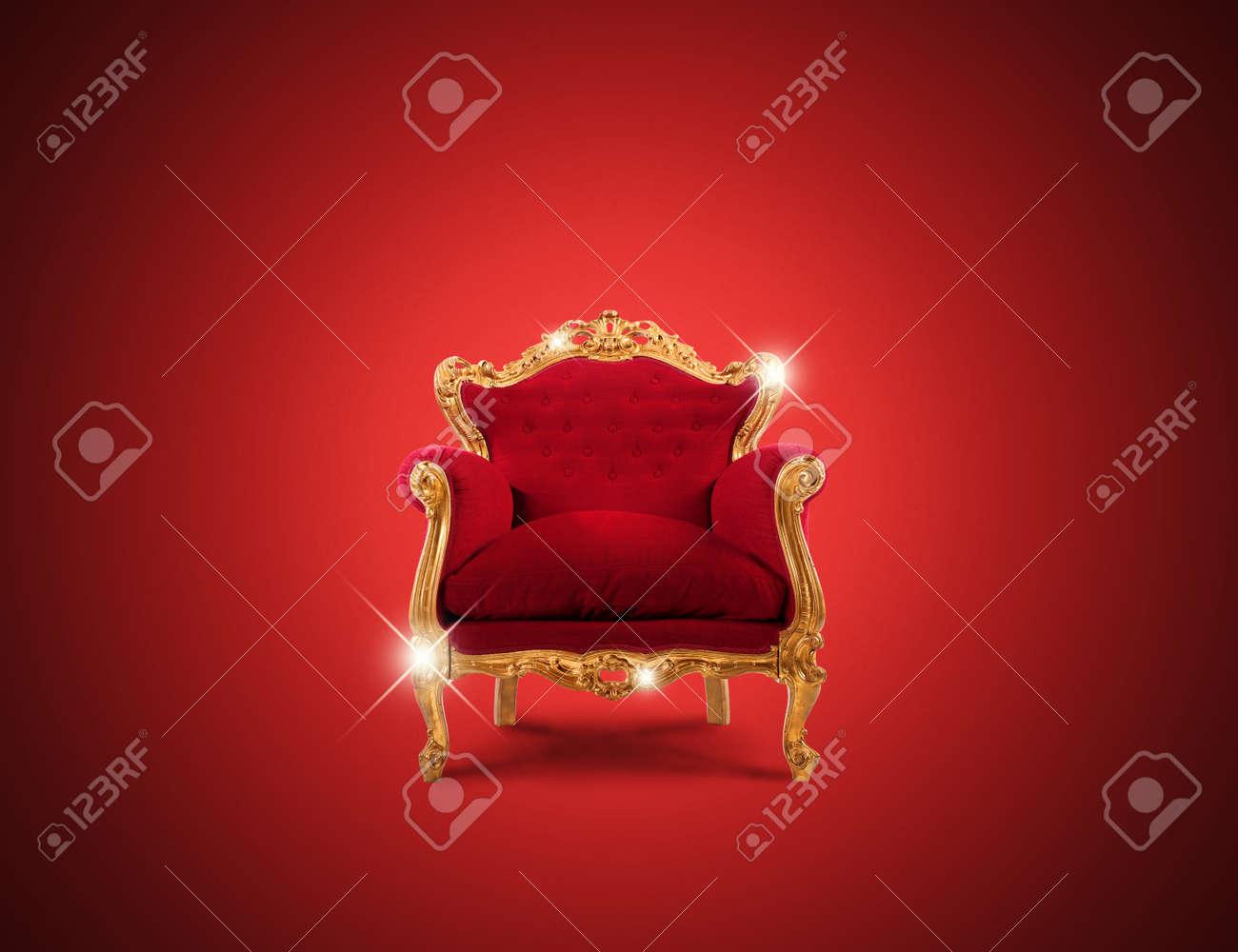 Luxury Sparkling Golden Armchair And Red Velvet Stock Photo   45342180