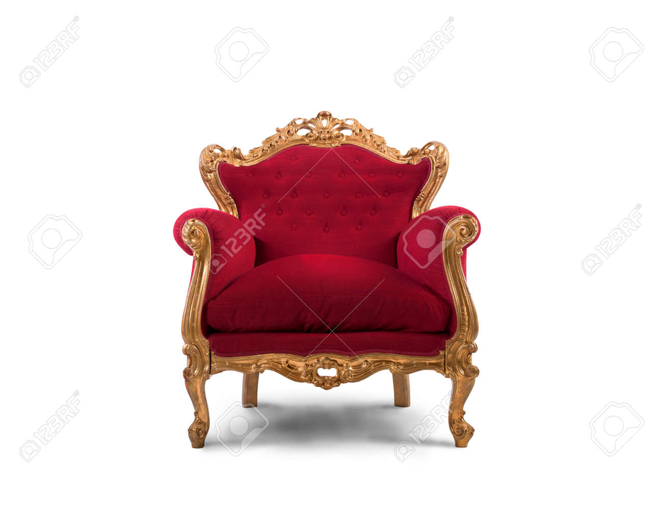 Concept of luxury and success with red velvet and gold armchair Stock Photo - 46037496