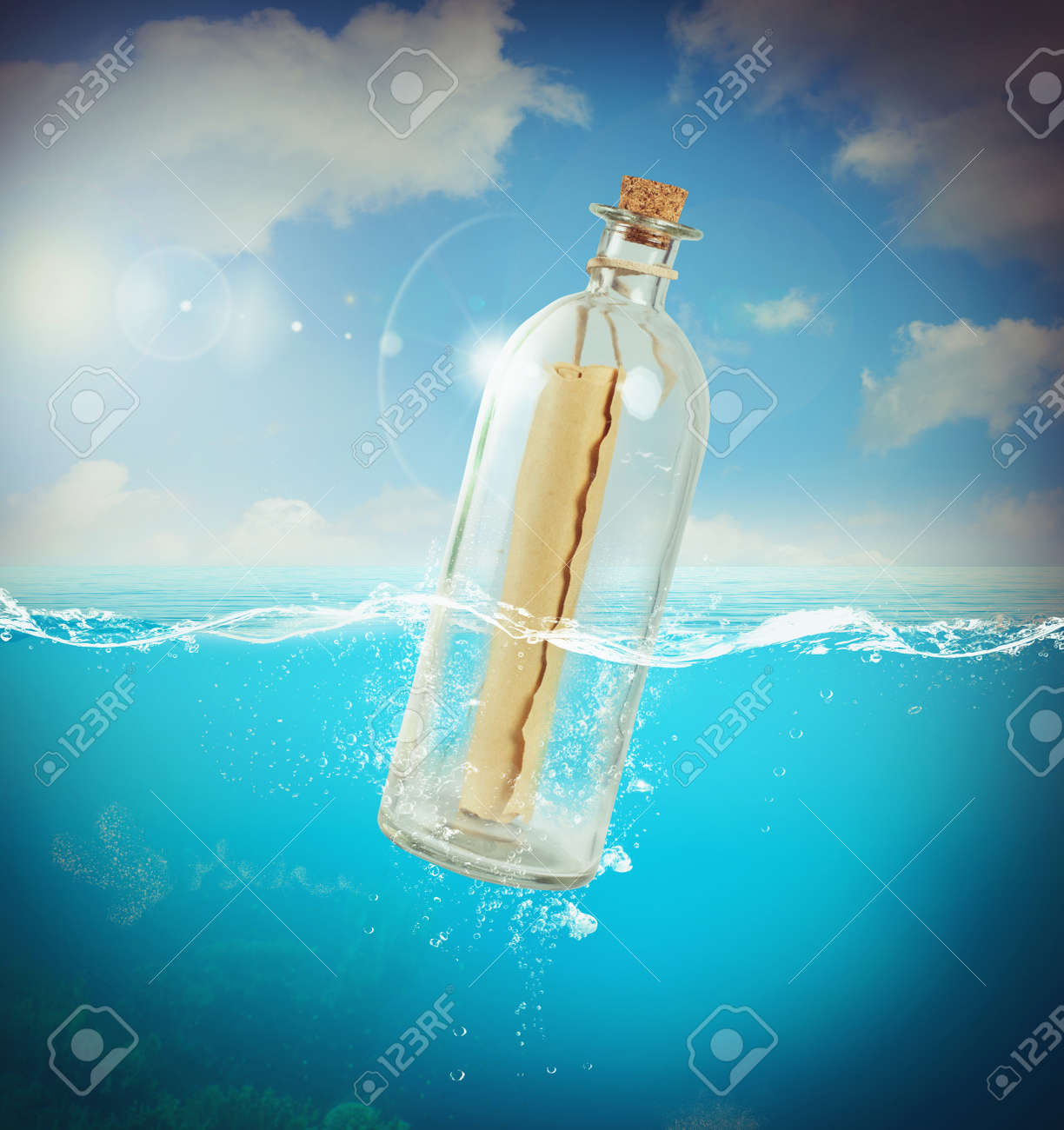 letter in a bottle in the sea stock photo 46342675