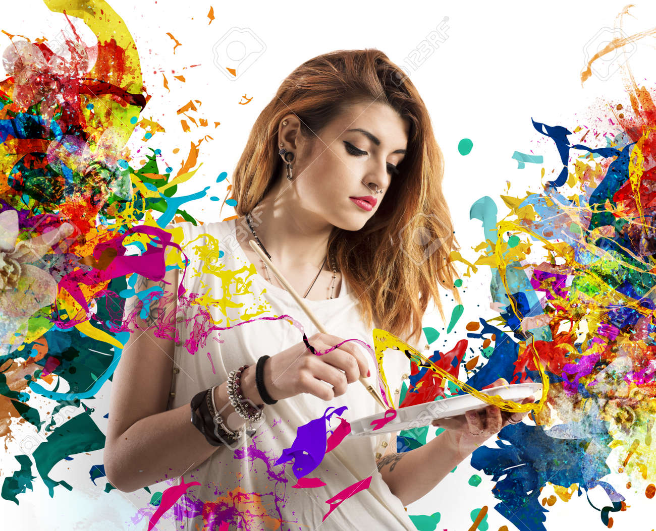 Creative woman painter with brush and palette - 47110849