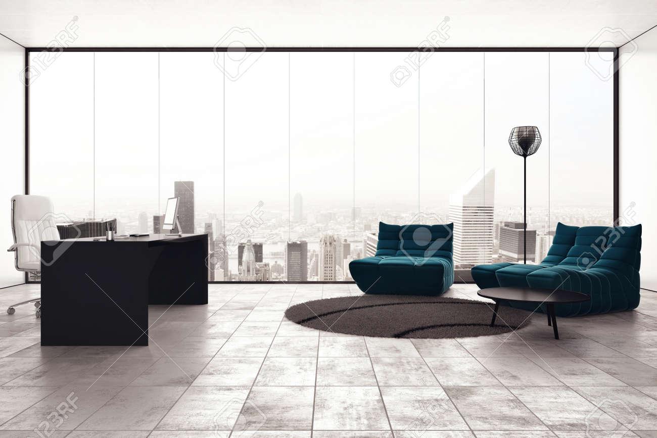 Ufficio Di Lusso : Ufficio esecutivo di lusso con vista sulla città finestra foto