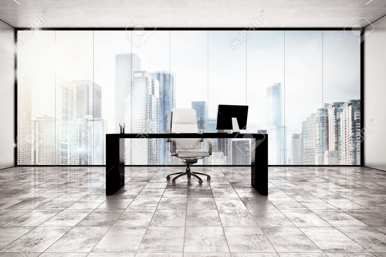 Luxury Executive Office With City View Window Stock Photo   49306203