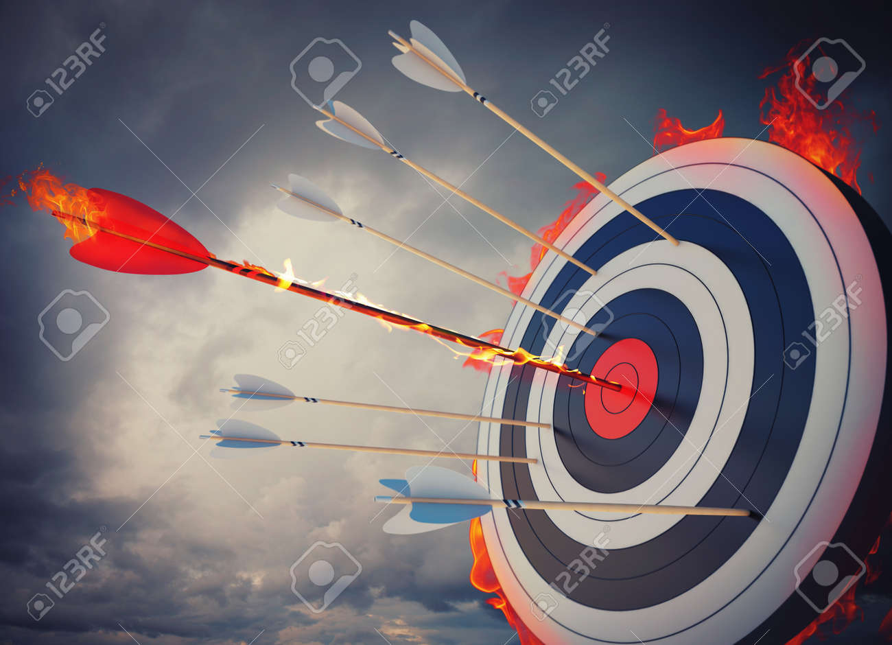 Flaming arrow hitting the center of target Stock Photo - 49634889