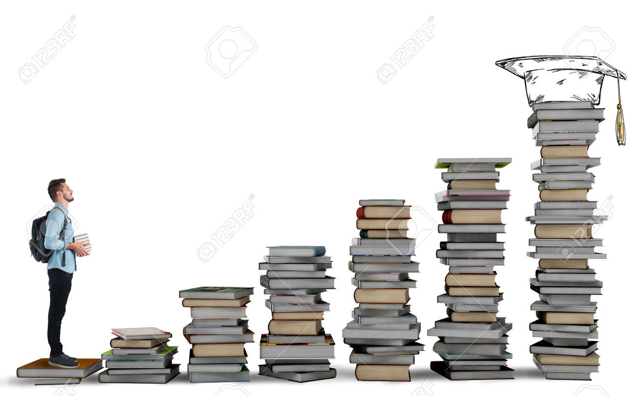 Student Climbing A Ladder Of Study Books Stock Photo, Picture And ... for Student Climbing Ladder  104xkb