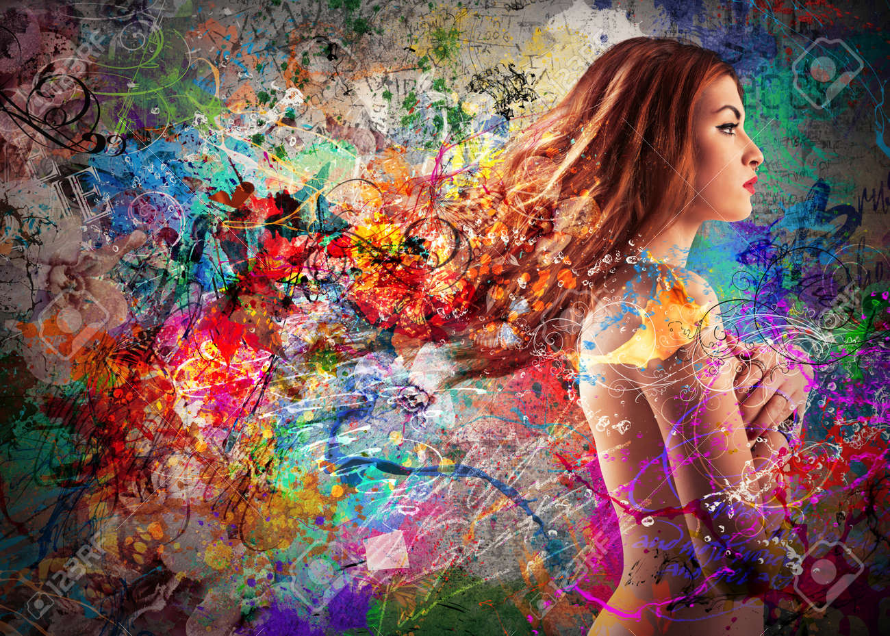 Beautiful girl in a colorful background - 50303131