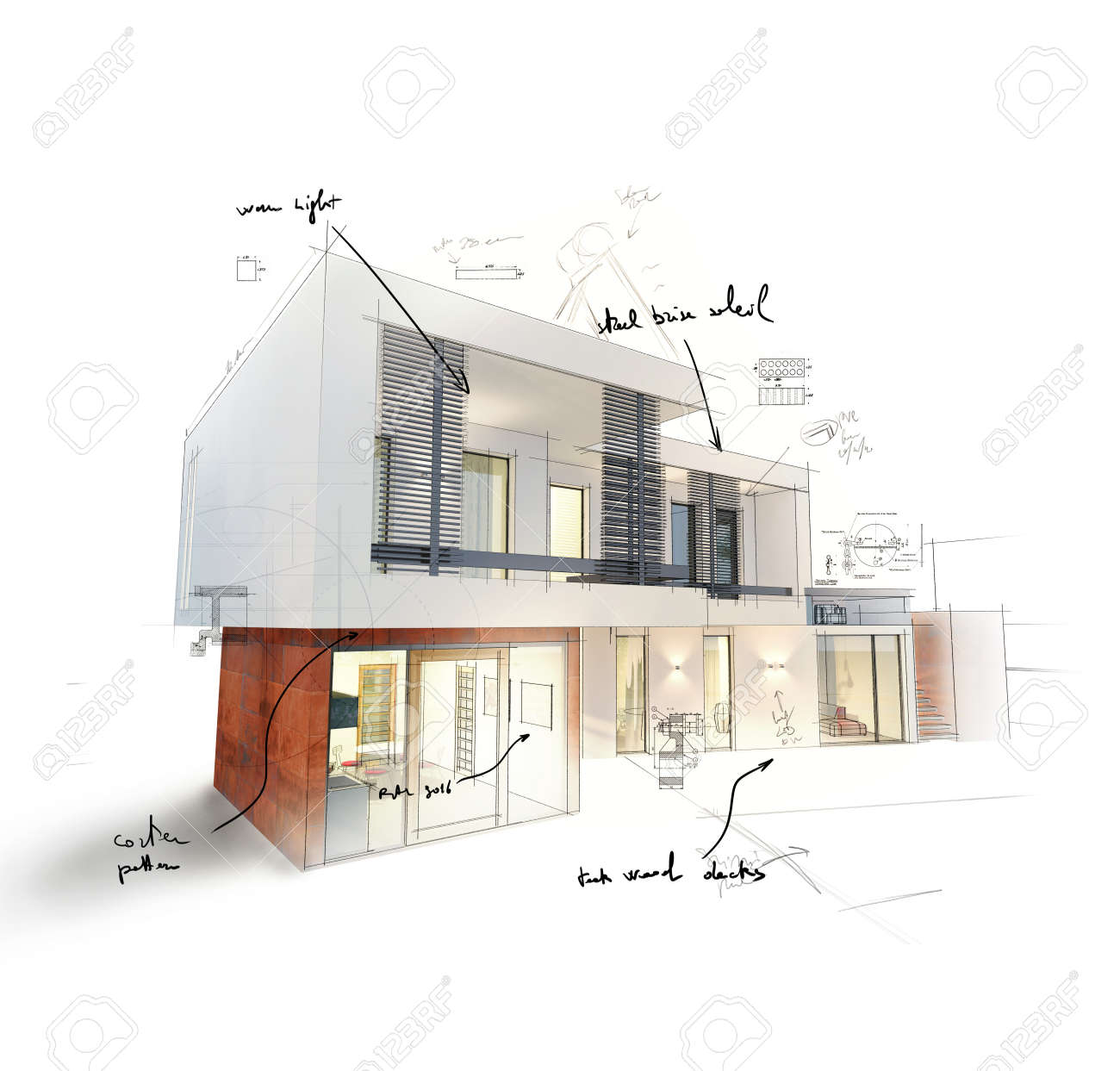 Project of a house in 3d sketch - 51005188