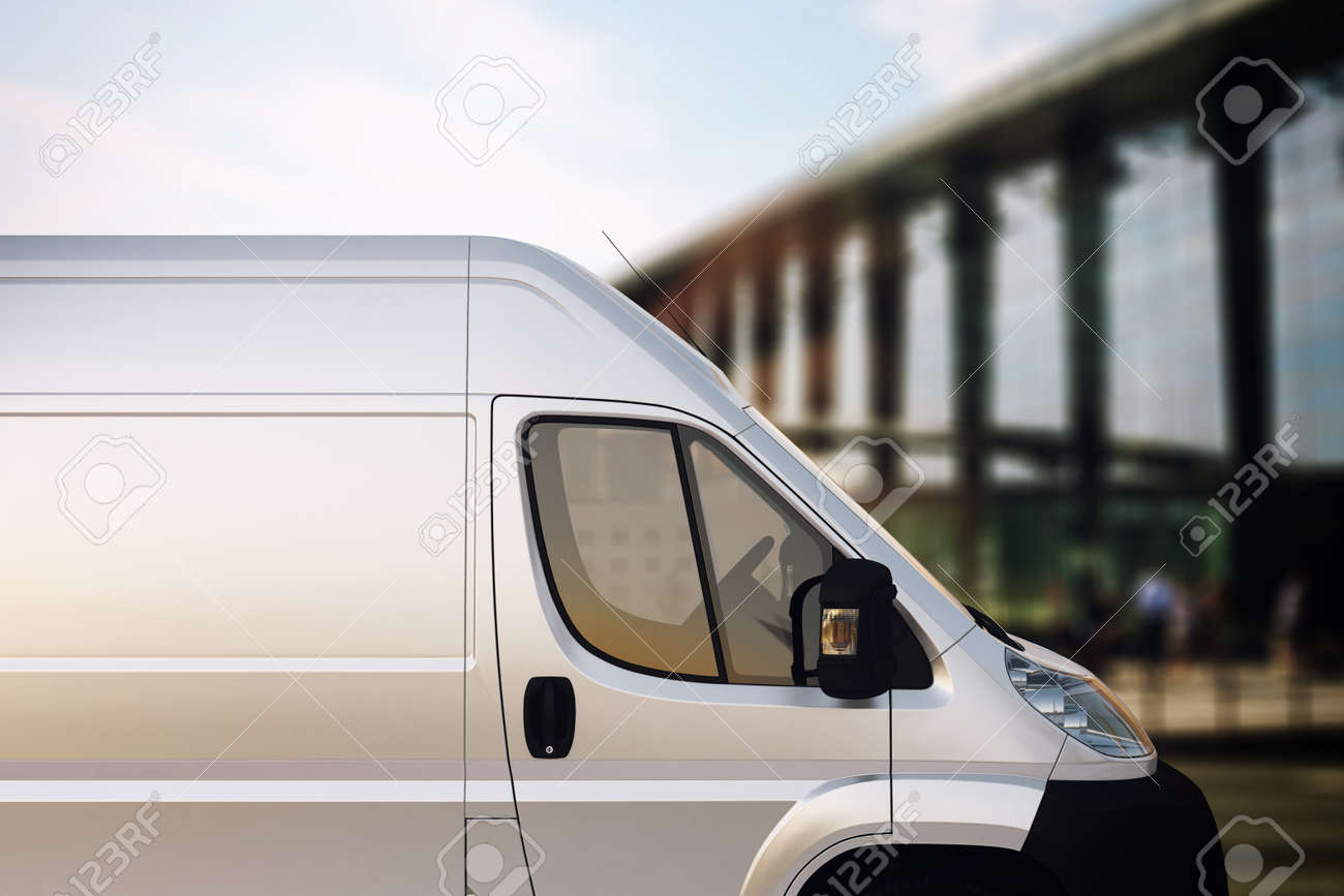 Truck for delivery with bridge on background - 52445536