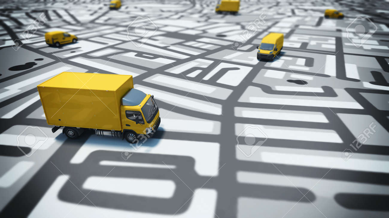 Image of map of streets with trucks - 52445538