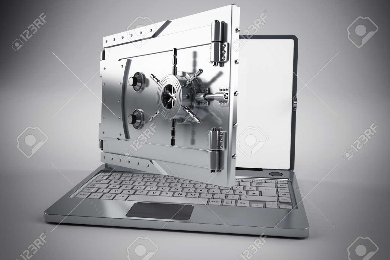 3d Laptop with the screen as a safe Standard-Bild - 54384240
