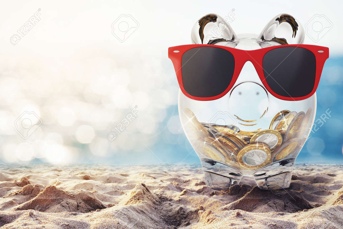 Piggybank with red sunglasses on the beach. 3D rendering - 55674734