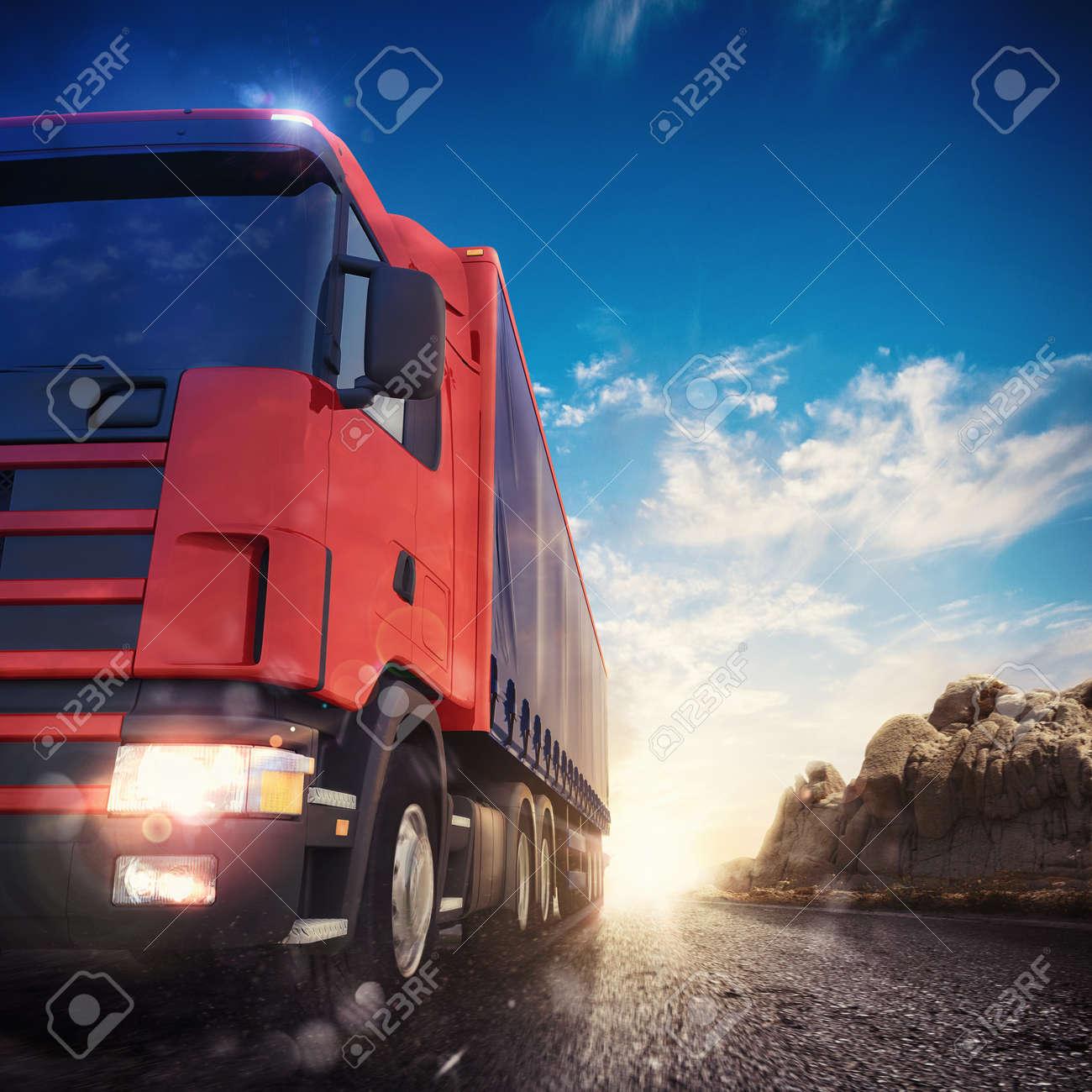 3D rendering transporter truck on a highway - 56858001