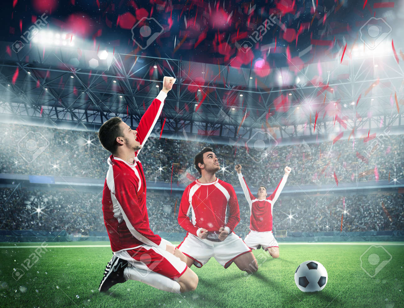 Soccer players exults on a stadium field - 59132382